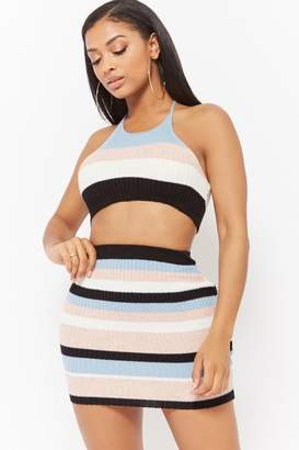 Forever 21 Striped Halter Crop Top & Mini Skirt Set