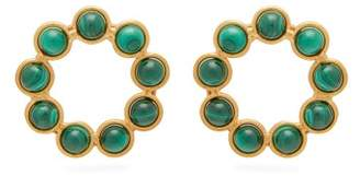 Sylvia Toledano - Open Circle Malachite 24kt Gold Plated Earrings - Womens - Green