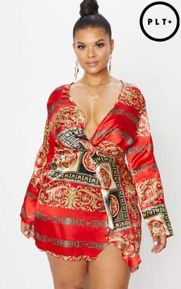 PrettyLittleThing Plus Red Printed Satin Long Sleeve Wrap Dress