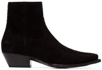 Saint Laurent black Lukas 40 suede cowboy ankle boots