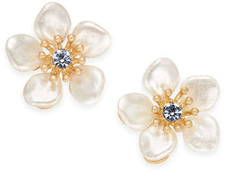 lonna & lilly Gold-Tone Crystal & Imitation Pearl Flower Stud Earrings