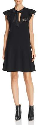 Rebecca Taylor Lace-Trimmed Crepe Dress