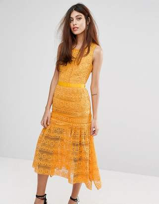 True Decadence Midi Lace Dress with Frill detail