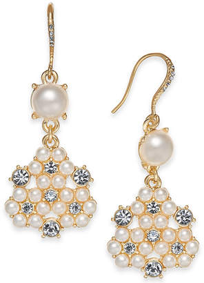 Charter Club Gold Tone Crystal Imitation Pearl Cer Drop Earrings Created For Macy S