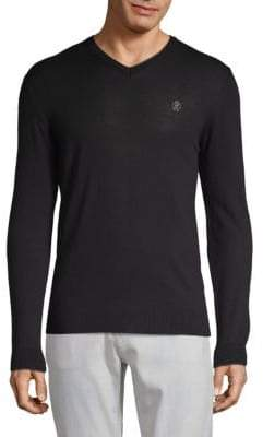 Roberto Cavalli V-neck Logo Embroidered Pullover