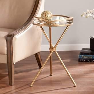 Southern Enterprises Maurelle Metal Mirrored Accent Table, Antique Bronze