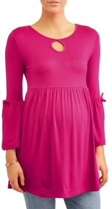 Oh! Mamma Maternity Key Hole Bell Sleeve Baby Doll Top - Available in Plus Sizes