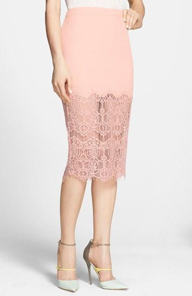 ASTR Textured Lace Hem Pencil Skirt