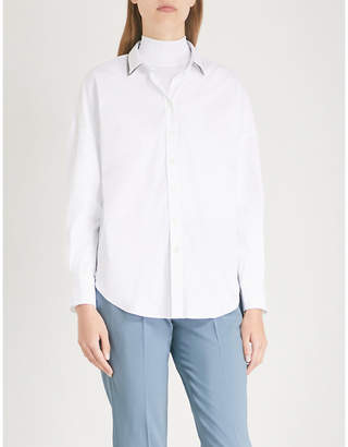 Brunello Cucinelli Contrasting-collar cotton-poplin shirt