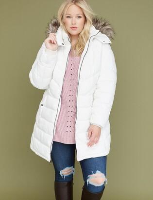 Lane Bryant Fur-Trim Hooded Puffer Jacket - White