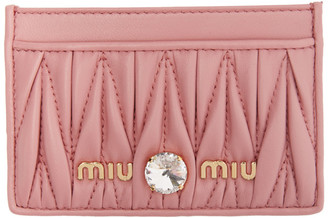 Miu Miu Pink Quilted Crystal Card Holder