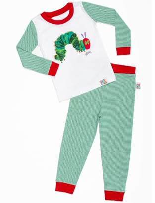 """Eric Carle Baby Toddler Boy or Girl Unisex """"Very Hungry Caterpillar"""" Tight Fit Pajamas 2pc Set"""