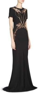 Alexander McQueen Women's Floral Embellished Evening Gown - Purple - Size 42 (6)