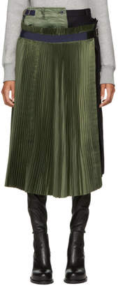 Sacai Khaki and Navy Wool Pleated Skirt