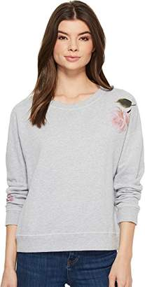 Michael Stars Women's French Terry Floral Reversible Long Sleeve Crew Neck
