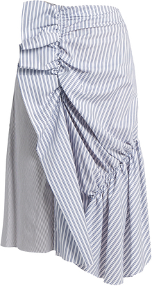 Patchwork ruched striped cotton skirt