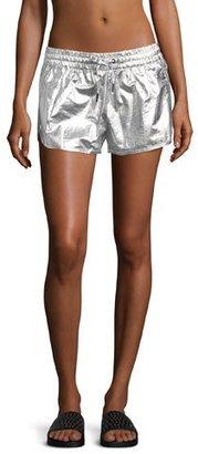 Alala Fuel Metallic Athletic Shorts, Silver $80 thestylecure.com