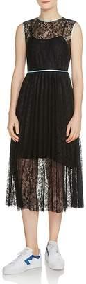 Maje Rabila Pleated Lace Midi Dress