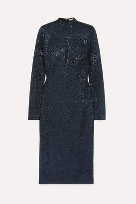 Rebecca Vallance Andree Sequined Lurex Midi Dress - Navy