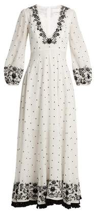 Zimmermann Tali Embroidered Linen Maxi Dress - Womens - Ivory