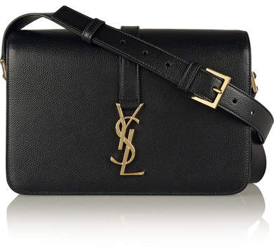 Saint Laurent - Monogramme Sac Université Medium Textured-leather Shoulder Bag - Black