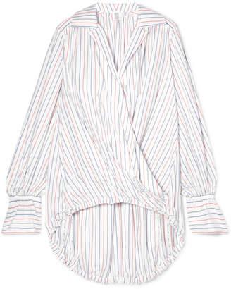 Rosie Assoulin Oversized Striped Wrap-effect Cotton-poplin Blouse
