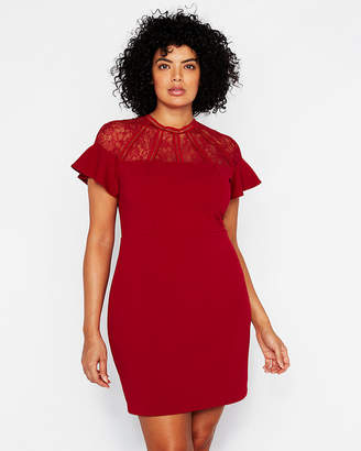 Express Lace Inset Ruffle Sheath Dress