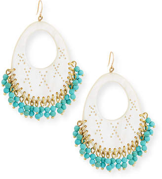 Ashley Pittman Vuka Turquoise Beaded Earrings, Light Horn
