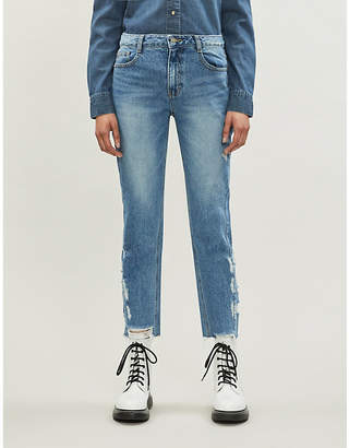 Sjyp Side destroyed straight high-rise jeans