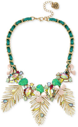 "Betsey Johnson Gold-Tone Multi-Stone Flower & Leaf Ribbon-Laced Statement Necklace, 15-1/2"" + 3"" extender"