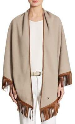 Loro Piana Fringed Leather& Cashmere Poncho
