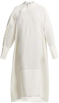 Jil Sander Side Button Down Dress - Womens - White