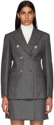 Calvin Klein Grey Wool Fancy Small Check Blazer