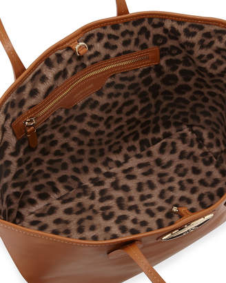 Roberto Cavalli Leopard-Lined Leather Tote Bag, Brown