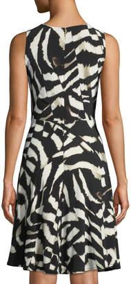 Donna Karan Printed-Jersey Fit-&-Flare Dress