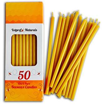 Votprof 50 Natural 100% Pure Beeswax Taper Candles (6 in) Natural Honey Scent