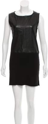 Diane von Furstenberg Leather-Trimmed Mini Dress