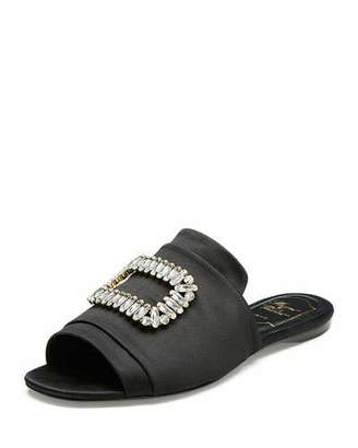 Roger Vivier Strass-Buckle Satin Slide Sandals, Black