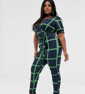 Pink Clove wrap front jumpsuit with tie waist and gathered sleeve in check print