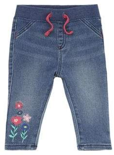 F&F Flower Embroidered Rib Waist Jeans 0-1 months