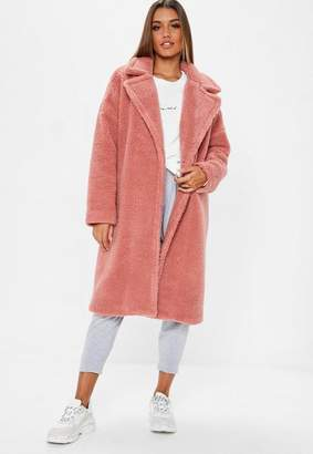 Missguided Blush Pink Chunky Borg Crombie Coat