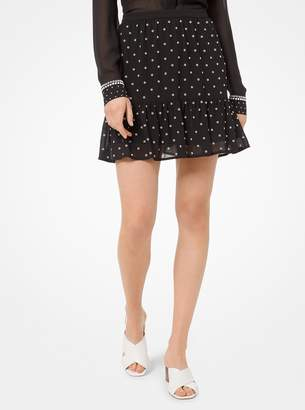 MICHAEL Michael Kors Grommeted Georgette Flounce Skirt