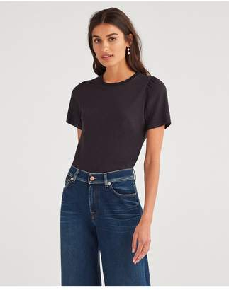 1aa0e0b0 7 For All Mankind Shirred Sleeve Crew In Jet Black