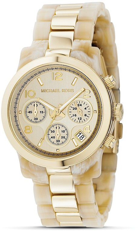 MICHAEL Michael Kors Round Faux Horn and Gold Bracelet Watch, 38MM