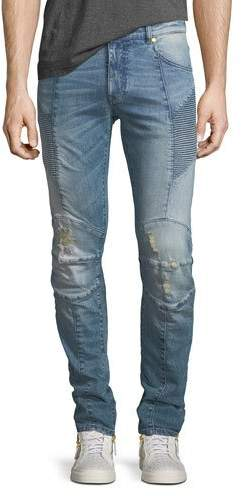 Pierre Balmain Distressed Biker Moto Jeans