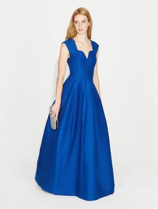 Halston Geo Neck Silk Faille Gown