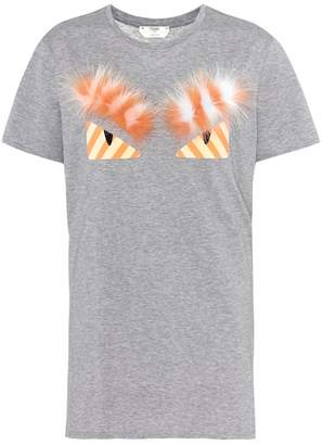 Fendi Fur-trimmed cotton T-shirt