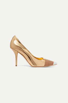 Burberry Tape-trimmed Metallic Leather Pumps - Gold