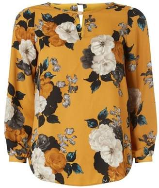 Dorothy Perkins Womens Petite Ochre Tab Floral Print Top