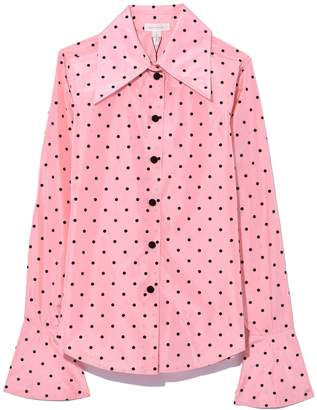 Marc Jacobs Dot Button Down with Cuff Detail in Light Pink